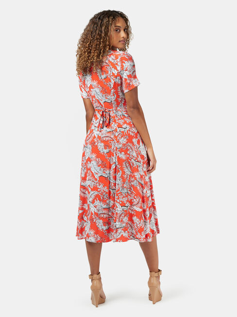 Jacqueline Printed Midi Dress, Red, hi-res