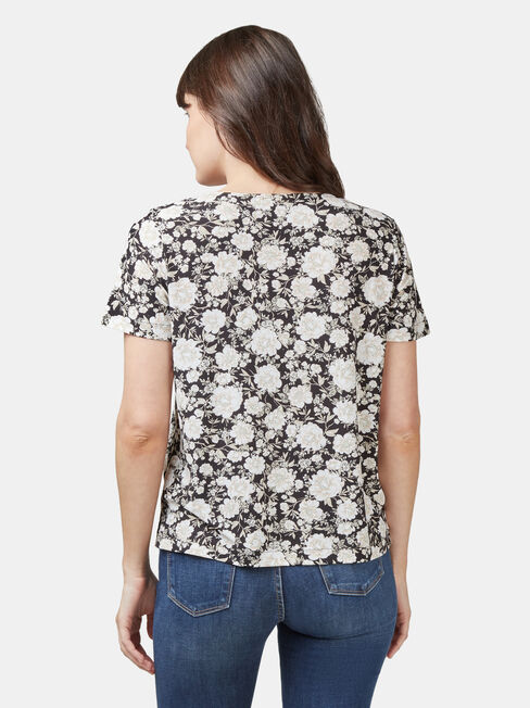 Maddie Button Front Formal Tee, Floral, hi-res