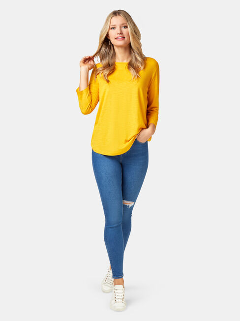 Essential Boatneck Tee, Yellow, hi-res