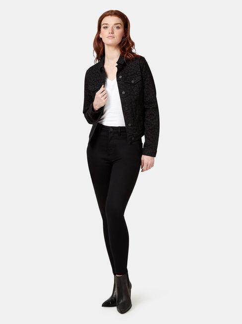 Animal Print Denim Jacket, Black, hi-res