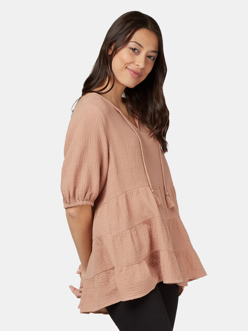 Cara Cheesecloth Tiered Top, Brown, hi-res