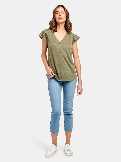 Milly Button Front Tee, Green, hi-res