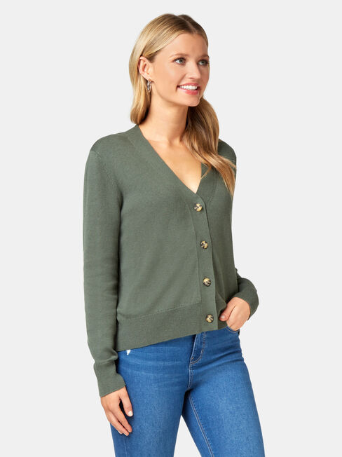 Ava Cropped Cardi, Green, hi-res