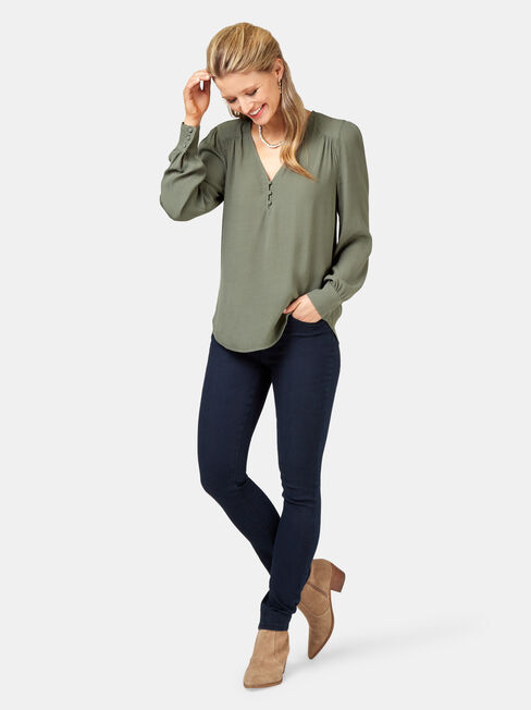 Nina Button Front Blouse, Green, hi-res
