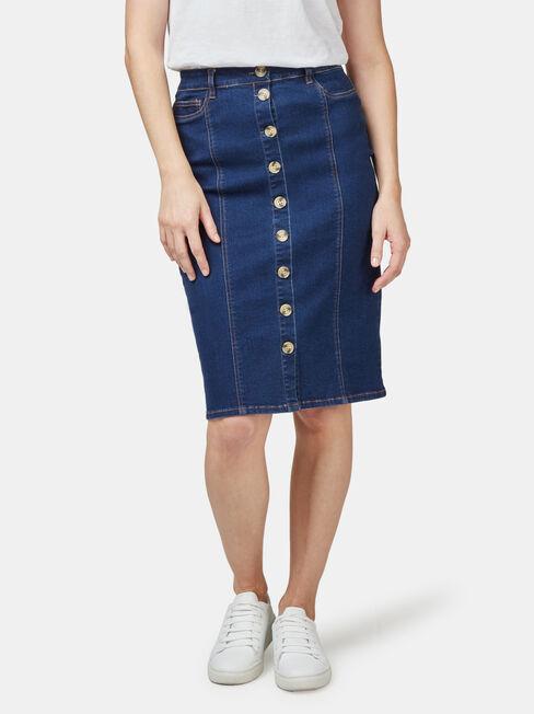 Denim Button Thru Skirt