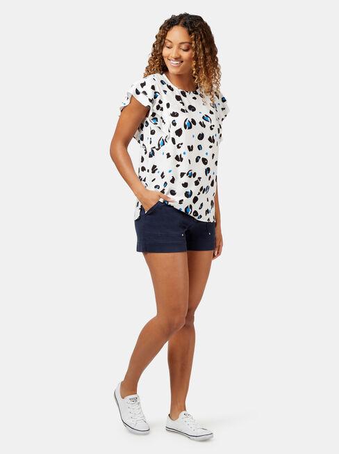 Francine Frill Sleeve Top, Print, hi-res