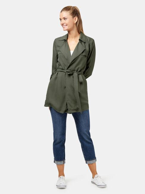 Ellie Drape Jacket, Green, hi-res