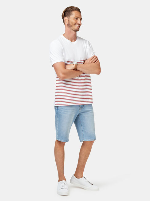 Cannon Short Sleeve Stripe Crew Tee, White, hi-res