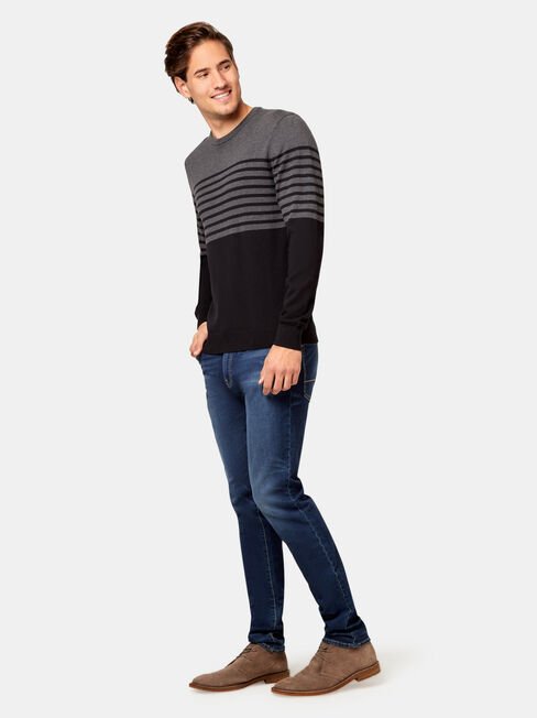 Lyle Striped Crew Knit, Grey, hi-res
