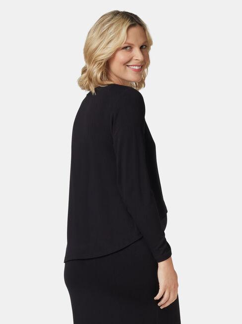 Lina Long Sleeve Maternity Dress, Black, hi-res