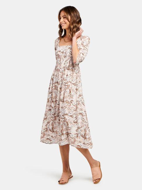 Shell Shirred Bust Dress, Print, hi-res