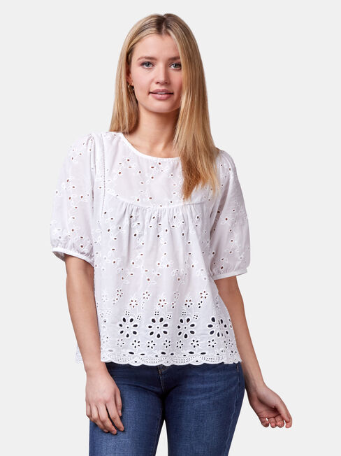 Andie Broderie Top, White, hi-res
