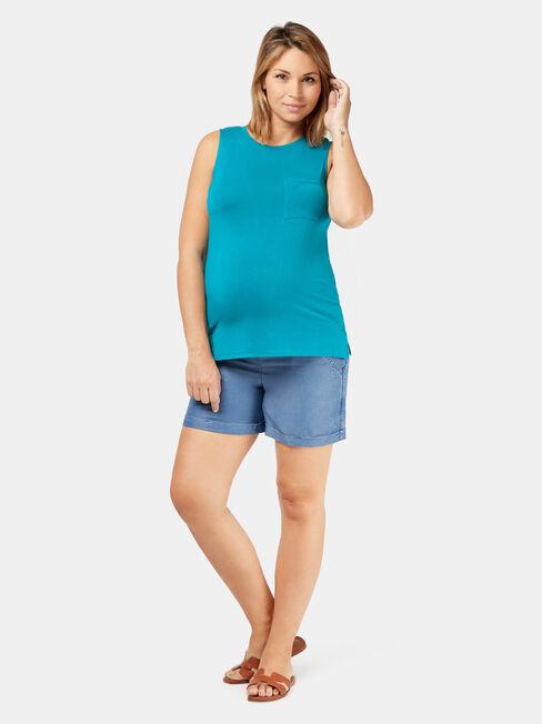 Nicole Maternity Tank, Blue, hi-res