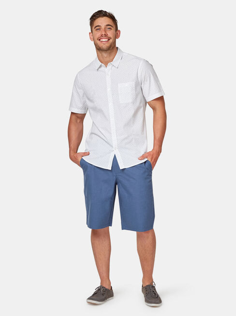Baxter Short Sleeve Print Shirt, White, hi-res