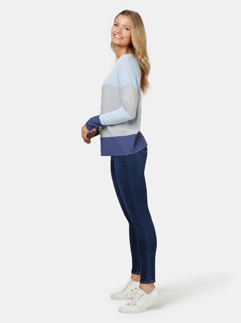Chloe Colour Block Knit, Blue, hi-res