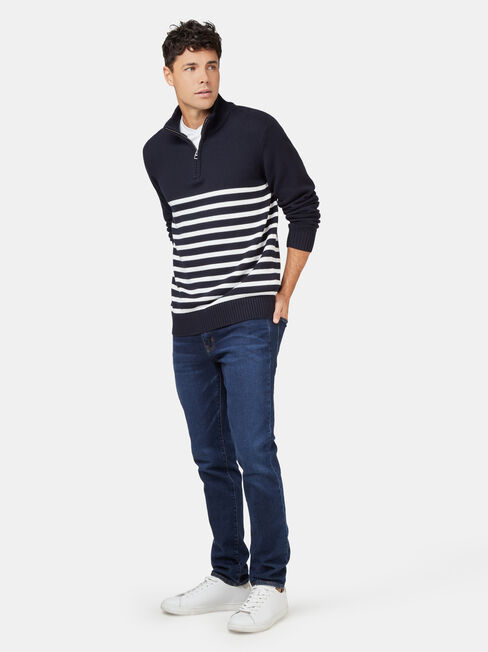 Max Funnel Neck Stripe Knit, Blue, hi-res