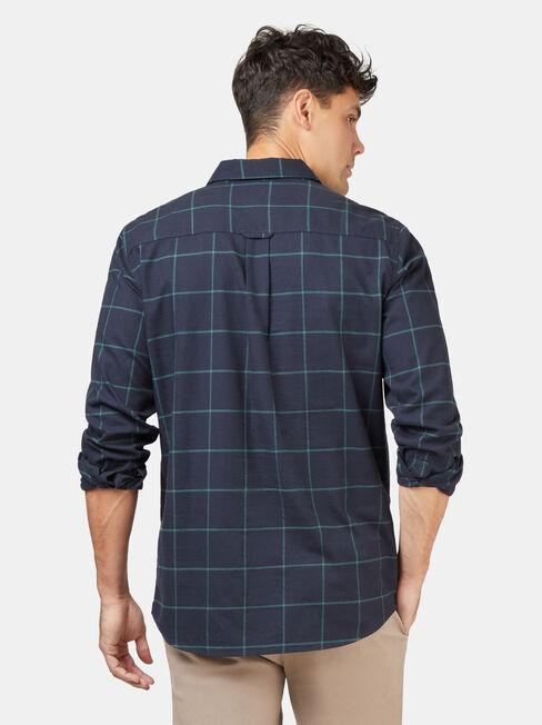 Anton Brushed Check Shirt, Blue, hi-res