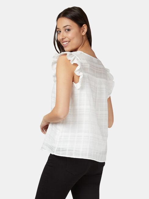 Freya Textured Frill Sleeve Top, White, hi-res