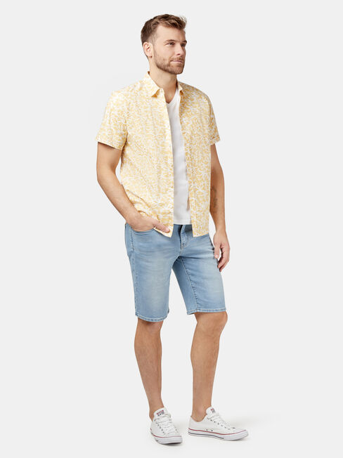 Earl Short Sleeve Print Shirt, Yellow, hi-res