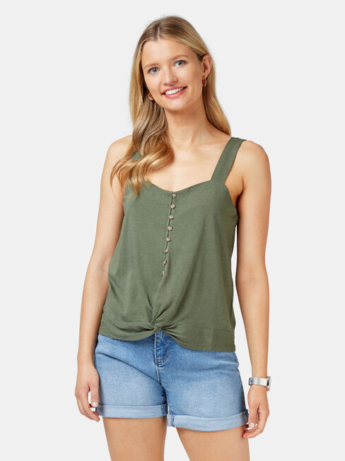 Rose Jersey Cami, Green, hi-res