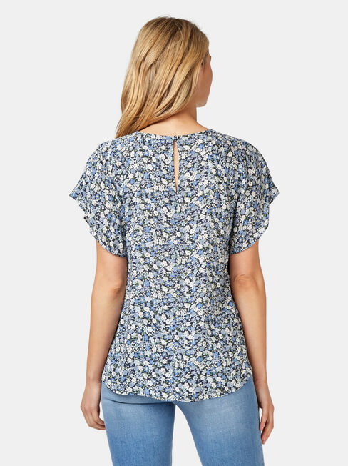 Victoria Flutter Sleeve Top, Blue, hi-res