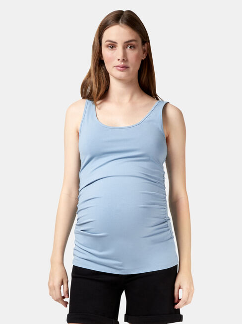 Lola Maternity Cotton Basic Tank, Blue, hi-res