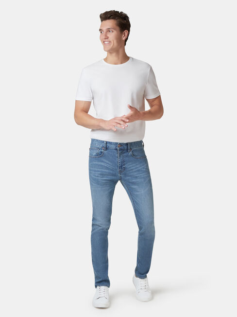 Denimflex Slim Tapered Jeans / Mid Vintage, LightWash, hi-res