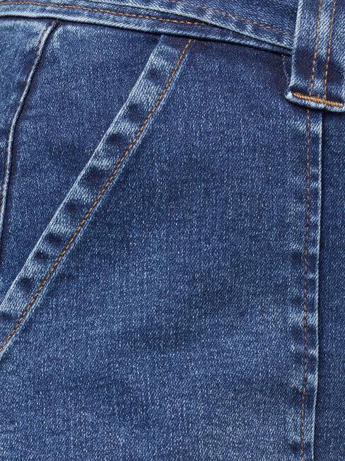 Avril Panelled Bermuda Curve Short, Blue, hi-res