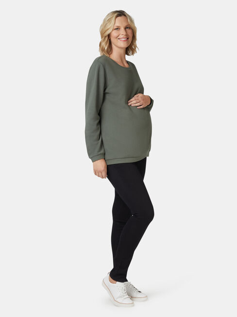Violet Cross Over Maternity Sweat, Green, hi-res