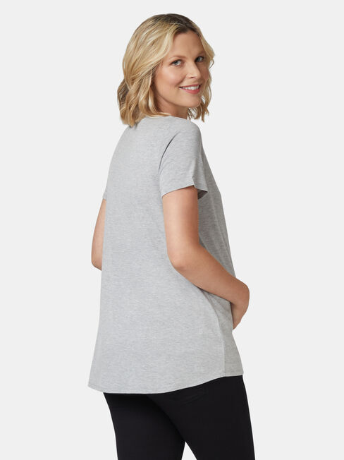Christina Heart Maternity Tee, Grey, hi-res