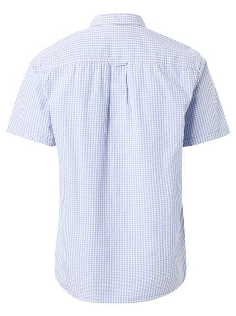 Draven Short Sleeve Check Shirt, Blue, hi-res