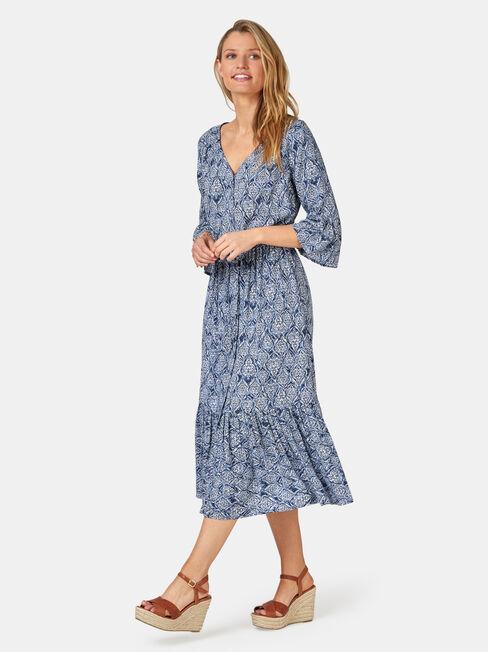 Willow Peasant Dress, Black, hi-res