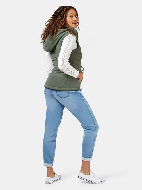 Belinda Padded Vest, Green, hi-res