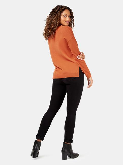 Vivienne V-Neck Pullover, Red, hi-res