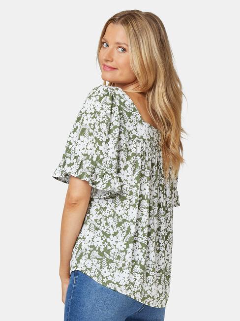 Rhani Flutter Sleeve Blouse, Floral, hi-res