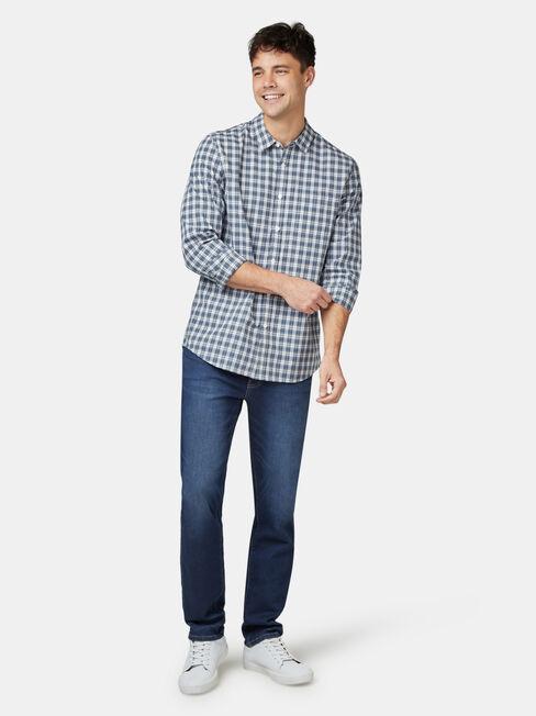 Marcus Long Sleeve Check Shirt, Blue, hi-res