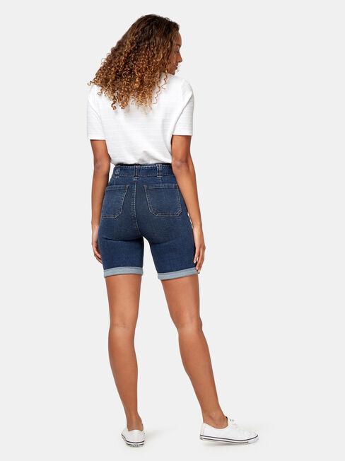 Avril Panelled Bermuda Short, Blue, hi-res