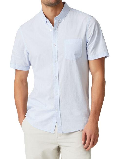 Wallace Short Sleeve Dobby Shirt, Blue, hi-res