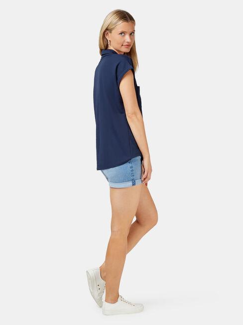 Finley Button Thru Shirt, Blue, hi-res
