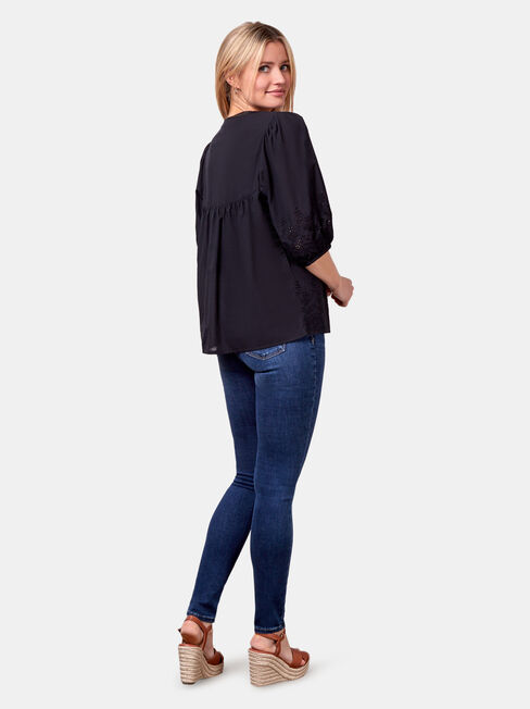 Byron Broderie Top, Black, hi-res