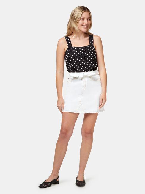 Martha Contrast Stitch Denim Skirt, White, hi-res