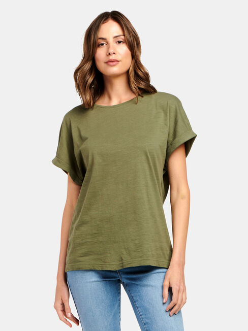 Drop Shoulder Tee, Green, hi-res