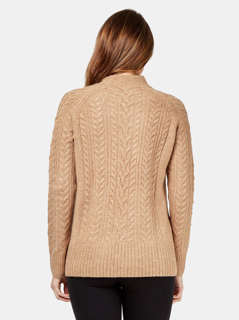 June Cable Knit, Brown, hi-res