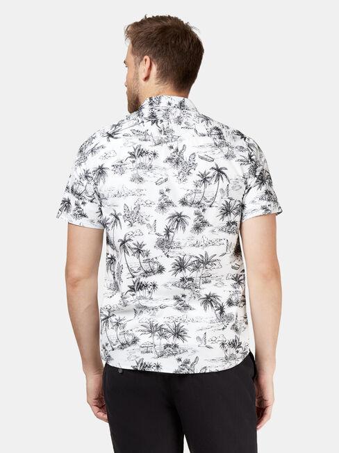 Paradise Short Sleeve Print Shirt, White, hi-res