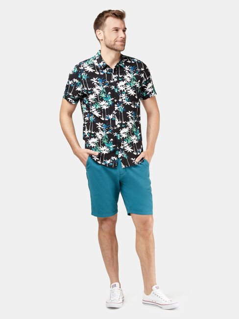 Bermuda Short Sleeve Print Shirt, Black, hi-res