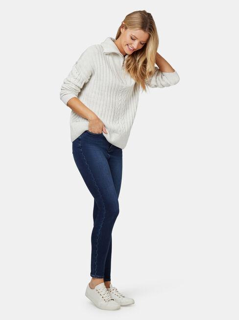 Ziggy Zip Front Pullover, White, hi-res