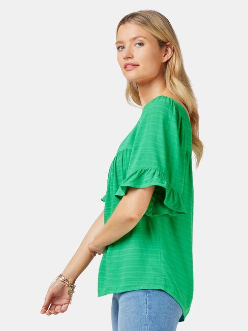 Rhani Flutter Sleeve Blouse, Green, hi-res
