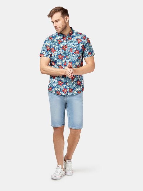 Felix Short Sleeve Print Shirt, Blue, hi-res