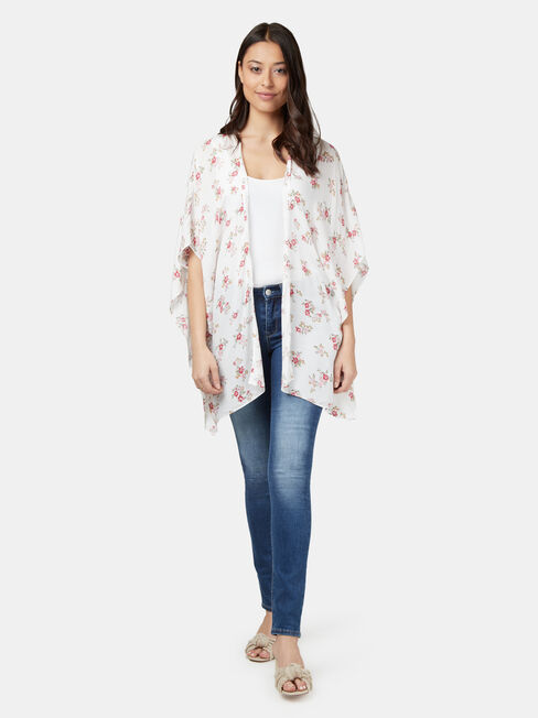 Polly Printed Kimono, White, hi-res