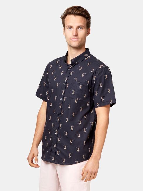 SS Maxwell Print Shirt, Blue, hi-res